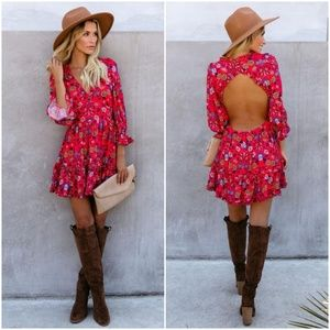 Vici Paprika Floral Backless Ruffle Dress